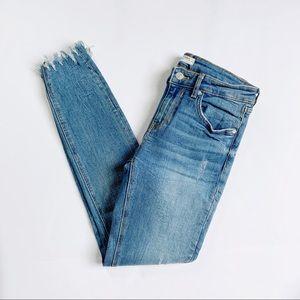 "Zara Distressed Raw Hem 9"" High Rise Skinny Jean"